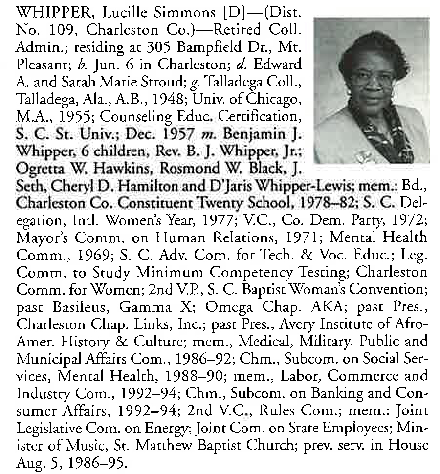Representative Lucile Simmons Whipper biography