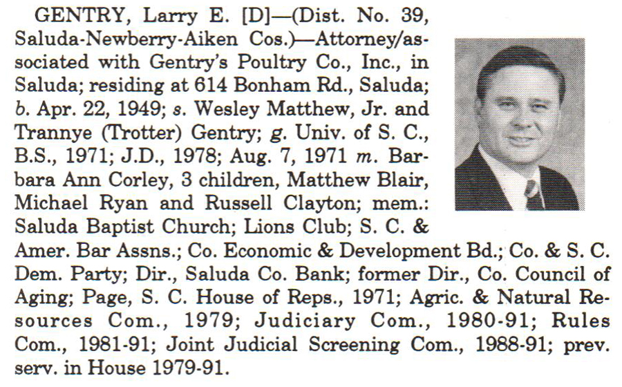 Representative Larry E. Gentry biography