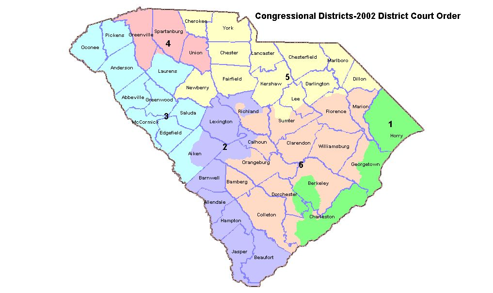 March 2002 U S District Court Order South Carolina Legislative Districts Statewide Congressional Map